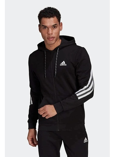 adidas Adidas Erkek Günlük Kapşonlu Sweatshirt M 3S Tape Fz Gm6895 Siyah